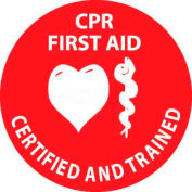 """NMC HH55 Hard Hat Emblem, CPR First Aid Certified And Trained, 2"""" Dia., White/Red"""
