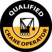"NMC HH58 Hard Hat Emblem, Qualified Crane Operator, 2"" Dia., White/Yellow/Black"