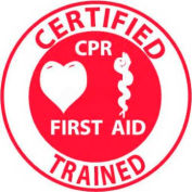 "NMC HH65 Hard Hat Emblem, Certified CPR First Aid Trained, 2"" Dia., White/Red"