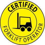 "NMC HH67 Hard Hat Emblem, Certified Forklift Operator, 2"" Dia., Yellow/Black"