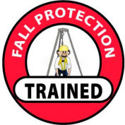 """NMC HH71 Hard Hat Emblem, Fall Protection Trained, 2"""" Dia., White/Red/Black"""