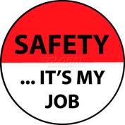 "NMC HH77 Hard Hat Emblem, Safety It's My Job, 2"" Dia., White/Red/Black"