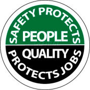 """NMC HH80 Hard Hat Emblem, Safety Protects People Quality Protects Jobs, 2"""" Dia., White/Green/Black"""