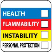 "NMC HM27 RTK Labels-Write On Color Bar, 4"" X 4"", Red/Yellow/White/Blue, PSP"