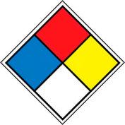"NMC HMS4P Hazardous Materials System Labels, 5-5/8"" X 5-5/8"", Red/Yellow/White/Blue, 5/Pk"