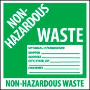 """NMC HW5ALV Container Label, Non-Hazardous Waste, 6"""" X 6"""", White/Green"""