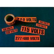 NMC JL22037O Voltage Marker, 120/208 Volts, 1-1/8 X 4-1/2, Orange/Black