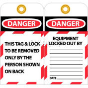 """NMC LOTAG1-25 Tags, This Tag & Lock To Be Removed Only, 6"""" X 3"""", White/Red/Black, 25/Pk"""