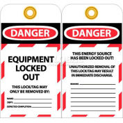 """NMC LOTAG37-25 Tags, Danger Equipment Locked Out, 6"""" X 3-1/4"""", White/Red/Black, 25/Pk"""