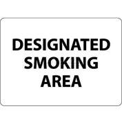 "NMC M102RB No Smoking Area Sign, Designated Smoking Area, 10"" X 14"", White/Black"