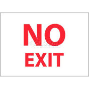 """NMC M199P Fire Sign, No Exit, 7"""" X 10"""", White/Red"""