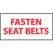 "NMC M238P Vehicle Sign, Fasten Seat Belts, 2"" X 4"", White/Red"