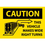"NMC M245PB Vehicle Sign, Caution This Vehicle Makes Wide Right Turns, 10"" X 14"", Yellow/Black"