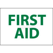 "NMC M249P Sign, First Aid, 7"" X 10"", White/Green"