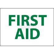 """NMC M249R Sign, First Aid, 7"""" X 10"""", White/Green"""