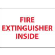 """NMC M28AP Fire Sign, Fire Extinguisher Inside, 3"""" X 5"""", White/Red"""