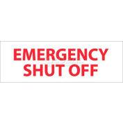 "NMC M347R Fire Sign, Emergency Shut Off, 4"" X 12"", White/Red"