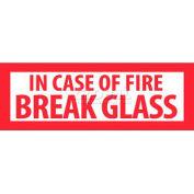 "NMC M40P Fire Sign, In Case Of Fire Break Glass, 1-3/4"" X 5"", White/Red"