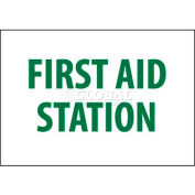 "NMC M442RB Sign, First Aid Station, 10"" X 14"", White/Green"