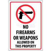 """NMC M452G Security Sign, No Firearms Or Weapons Allowed On This Property, 18"""" X 12"""", White/Red/Black"""