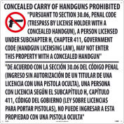 "NMC M460R Texas Concealed Handgun Law Prohibited Sign, Rigid Plastic, 24"" x 24"""