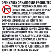 "NCM M461R Texas Open Carry Handgun Law Prohibited Sign, Rigid Plastic, 24"" x 24"""