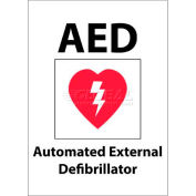 """NMC M609RB Sign, AED Automated External Defibrillator, 14"""" X 10"""", White/Red/Black"""