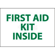 """NMC M65PP Sign, First Aid Kit Inside, 3"""" X 5"""", White/Green"""
