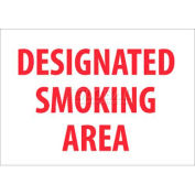 "NMC M701R No Smoking Area Sign, Designated Smoking Area, 7"" X 10"", White/Red"