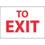 "NMC M71RB Fire Sign, To Exit, 10"" X 14"", White/Red"