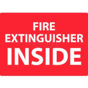 """NMC M720PB Fire Sign, Fire Extinguisher Inside, 10"""" X 14"""", White/Red"""