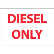 """NMC M764AP Flammable/Combustible Sign, Diesel Only, 3"""" X 5"""", White/Red"""