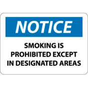 "NMC N155RB OSHA Sign, Notice Smoking Is Prohibited Except In Designated Areas, 10"" X 14"", Wh/Bl/Bk"