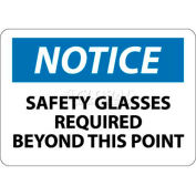 """NMC N18AB OSHA Sign, Notice Safety Glasses Required Beyond This Point, 10"""" X 14"""", White/Blue/Black"""