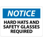 """NMC N206RB OSHA Sign, Notice Hard Hat & Safety Glasses Required, 10"""" X 14"""", White/Blue/Black"""