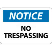"NMC N218AB OSHA Sign, Notice No Trespassing, 10"" X 14"", White/Blue/Black"