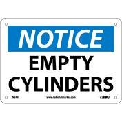 "NMC N24R OSHA Sign, Notice Empty Cylinders, 7"" X 10"", White/Blue/Black"