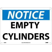 "NMC N24RB OSHA Sign, Notice Empty Cylinders, 10"" X 14"", White/Blue/Black"
