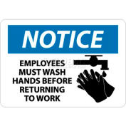 """NMC N269RB OSHA Sign, Notice Employees Must Wash Hands Before Returning To Work, 10"""" X 14"""", Wh/Bl/Bk"""