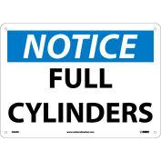 "NMC N26RB OSHA Sign, Notice Full Cylinders, 10"" X 14"", White/Blue/Black"