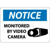 "NMC N297RB OSHA Sign, Notice Monitored By Video Camera, 10"" X 14"", White/Blue/Black"
