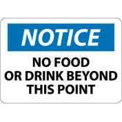 "NMC N310RB OSHA Sign, Notice No Food Or Drink Beyond This Point, 10"" X 14"", White/Blue/Black"