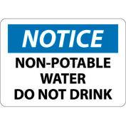 "NMC N321PB OSHA Sign, Notice Non-Potable Water Do Not Drink, 10"" X 14"", White/Blue/Black"