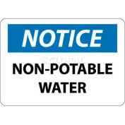 "NMC N322PB OSHA Sign, Notice Non-Potable Water, 10"" X 14"", White/Blue/Black"