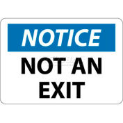 """NMC N324RB OSHA Sign, Notice Not An Exit, 10"""" X 14"""", White/Blue/Black"""
