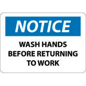 "NMC N43R OSHA Sign, Notice Wash Hands Before Returning To Work, 7"" X 10"", White/Blue/Black"