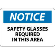 "NMC N6RB OSHA Sign, Notice Safety Glasses Required In This Area, 10"" X 14"", White/Blue/Black"