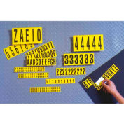 """NMC NPS14 Number Card 0-9, 10 Numbers/Card, 2""""H, Yellow/Black, Pressure Sensitive Cloth"""