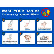 "Wash Your Hands Poster, 18"" X 24"", Synthetic Paper"