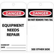 "NMC RPT106 Tags, Equipment Needs Repair, 6"" X 3"", White/Red/Black, 25/Pk"